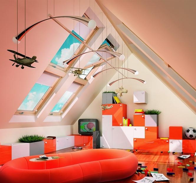 Pokój na poddaszu - pod dwuspadowym dachem