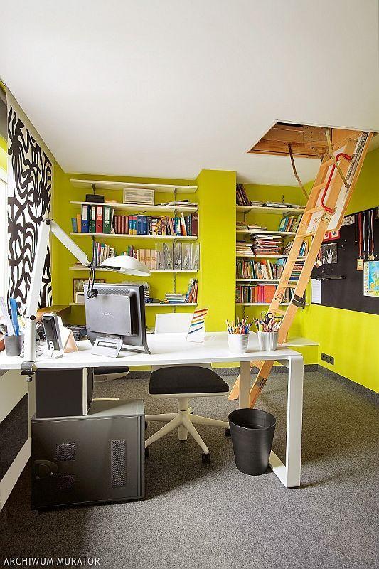 Kolory ścian - limonkowy gabinet